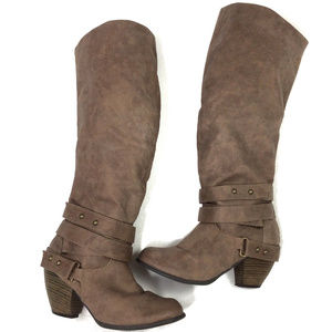SHI by Journeys Heeled Riding Boots Straps 7.5